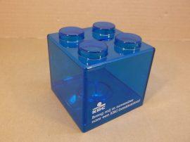 Óriás műanyag építőkocka, persely, lego forma, összeépíthető, 89x89x89 mm