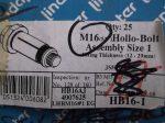 M16x75 hatlapfejű Acéldűbel szerkezeti acélokhoz, horganyzott, Lindapter HB16-1 Hollo-Bolt, 1800.- Ft/db.