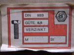 M12x55 hatlapfejű tövig menetes csavar, 8.8, horganyzott, 30 Ft/db, DIN933-8.8, ŁFS