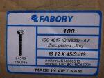 M12x45 hatlapfejű tövig menetes csavar, 8.8, horganyzott, 30 Ft/db, DIN933-8.8, Fabory/CW