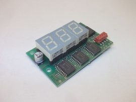 3 digites, 7 szegmenses panelműszer, kijelző, PCB, B06120, Kingbright SA52-11EWA, 13mm számjegy méretű LED kijelzőkkel, PCF8574T meghajtó chippekkel,