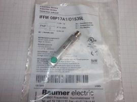 Induktív közelítés kapcsoló, érz. táv. 2mm, 10-30VDC, PNP NO, 8x8x46mm, Baumer IFFM 08P17A1/O1S35L