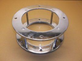 Átfolyásfigyelő, benéző armatúra, kémlelőablak, üveg kémlelő-ellenőrző cső, 280X114mm, üveg cső+ krómozott acél