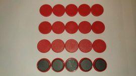 Táblamágnes, hűtőmágnes, tartómágnes, piros, 50db/csomag, 38mm átmérő, 12mm vastag, hansawerke 7538-03, erős, síkra merőleges húzóerő 2,5kg, bruttó 150.-Ft/db, Stroncium-Ferrit korong mágnes