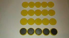 Táblamágnes, hűtőmágnes, tartómágnes, sárga, 50db/csomag, 38mm átmérő, 12mm vastag, hansawerke 7538-04, erős, síkra merőleges húzóerő 2,5kg, bruttó 150.-Ft/db, Stroncium-Ferrit korong mágnes
