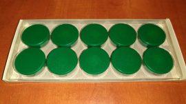 Táblamágnes, hűtőmágnes, tartómágnes, zöld, 10db/doboz, 38mm átmérő, 12mm vastag, hansawerke 7538-15, erős, síkra merőleges húzóerő 2,5kg, bruttó 200.-Ft/db, Stroncium-Ferrit korong mágnes