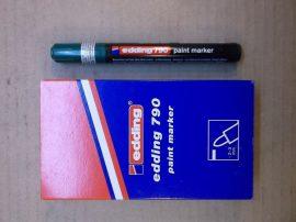Edding 790 lakkmarker, lakkfilc, zöld 004, 2-3 mm kerek vég, 5db/csomag, bruttó 600.-Ft/db.
