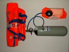 Légzőkészülék maszk palackkal, nyakba akasztható, max 15 perc, 200bar, Respire Exodus 15, menekülő maszk, PCP, búvár palack