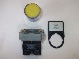 Nyomógomb egység, záró (1xNO), sárga, süllyesztett, 400VAC 10A Telemecanique ZB2-BE101+ ZB2BA5, ZB2BZ009