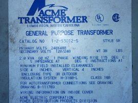 Transzformátor 1 fázisú, pri: 240x480VAC,sec: 120/240VAC, 2.0 kVA, Acme Electric T-2-53012-S, SR