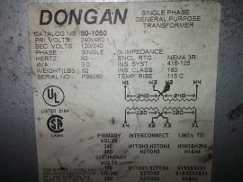 Transzformátor 1 fázisú, pri: 240x480VAC, sec: 120/240VAC, 3.0 kVA, Dongan 80-1050