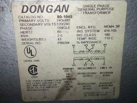 Transzformátor 1 fázisú, pri: 240x480VAC, sec: 120/240VAC, 2.0 kVA, Dongan 80-1045