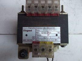 Transzformátor, leválasztó 1 fázisú, pri:220/380VAC sec:24VAC 5A, 110VA, Legrand NFC 52-210, 42981