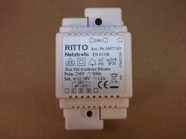Transzformátor, 1~, be:230VAC, ki:6/12/18VAC 1,3A, Ritto 16477.01, Ritto video kaputelefonhoz